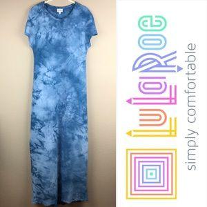 Lularoe Blue Tie-dye Maria Maxi Dress: size XS
